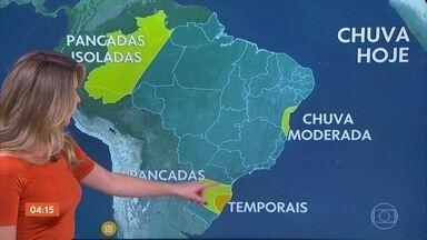 Veja a previsão do tempo para esta quinta-feira (3) no Brasil - Chuva no Sul vai se espalhar cada vez mais nas próximas horas, com risco de temporal em várias cidades do RS.