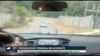 Perseguição termina em acidente em Curitiba - PRF diz que homem atropelou motociclista e fugiu sem prestar socorro.