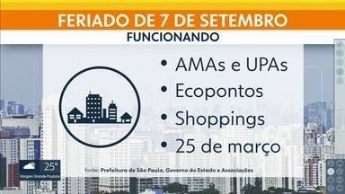 Saiba o que fecha e abre no feriado de Sete de Setembro na capital - O rodízio de veículos est á suspensso.