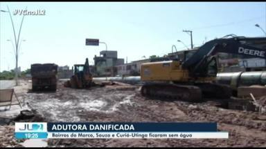Três bairros de Belém ficam sem água depois que adutora foi atingida em obra de drenagem - Três bairros de Belém ficam sem água depois que adutora foi atingida em obra de drenagem