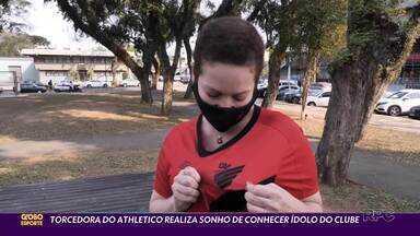 GE promove encontro emocionante - Luciana, torcedora do Athletico que superou o câncer de mama, tem uma surpresa especial com a ajudinha do Globo Esporte