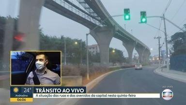 A movimentação na cidade nesta quinta-feira - Como estão as ruas e as avenidas de São Paulo.
