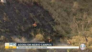Bombeiros combatem incêndio em vegetação, em Mário Campos - Queimadas foram registradas em vários pontos da cidade.