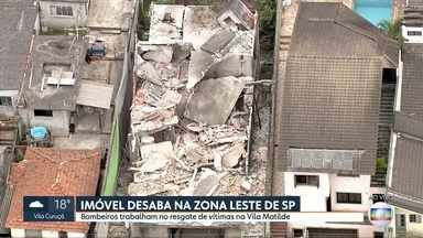 Bombeiros resgaram vítimas em soterramento na zona leste de São Paulo - Imóvel desabou na Vila Matilde. Segundo moradores, estrutura estava em obras.