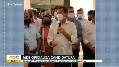 MDB oficializa nome de Maguito Vilela como candidato à Prefeitura de Goiânia - Ex-prefeito de Aparecida de Goiânia, ele também já foi vereador, deputado, governador e senador. Vereador Rogério Cruz (Republicanos) integra a chapa como vice.