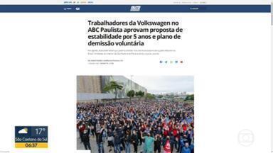 Funcionários da Volkswagen no ABC Paulista entram em acordo para garantir estabilidade por 5 anos - A decisão foi tomada numa assembleia depois que a empresa anunciou que, por causa da crise, teria que demitir 35% dos funcionários.