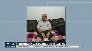 Comerciante português é morto a tiros durante tentativa de assalto, em Duque de Caxias - João Batista, de 67 anos, veio para o Brasil há 40 e era dono de uma papelaria na cidade.