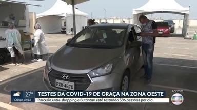 Centenas de pessoas encaram o calor para fazer teste gratuito da Covid na Zona Oeste - Os testes são em esquema de drive-thru em um sho´ping às margens da Rodovia Raposo Tavares.