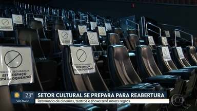 Setor cultural terá novas regras para retomar atividades - Venda de ingressos e alimentos deverão respeitar protocolos de higiene. Lotação de cinemas e teatros será limitada para respeitar distanciamento social.
