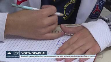 Governo autoriza a reabertura de escolas no estado - Ensino Superior poderá voltar na semana que vem e escolas particulares em 5 de outubro. O anúncio foi feito nesta quarta-feira (23) pelo secretário estadual de Saúde, Carlos Amaral.