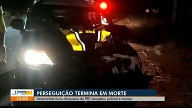 Motociclista morre após ferir agente e tentar fugir de bloqueios da PRF na Paraíba - Perseguição terminou em morte.