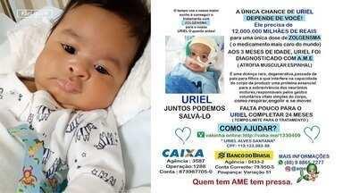 Corrente do bem para ajudar no tratamento do bebê Uriel - Campanha nas redes é feita para colaborar com o tratamento do bebê Uriel, diagnosticado com a doença AME