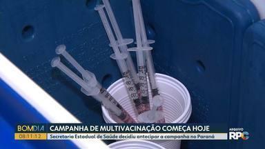 Campanha de multivacinação é antecipada no Paraná - A campanha foi antecipada para começar nesta segunda (28).