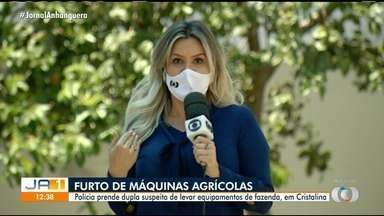 PM prende dois suspeitos de furtar máquinas agrícolas de fazenda em Cristalina - Suspeito admitiu à PM o furto das máquinas.