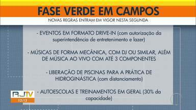 Campos, RJ, entra na fase verde do plano de retomada das atividades econômicas - Depois de quase três meses na fase amarela, município entrou, nesta segunda-feira (28), no segundo nível mais baixo de restrições na pandemia.