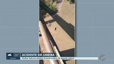Mulher fica ferida após bater em pilastra durante pulo de rope jump em Limeira - Segundo testemunhas, o acidente foi na manhã de domingo (27) e a vítima foi levada de carro à Santa Casa de Limeira.