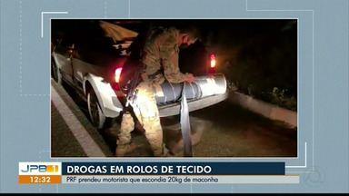 Polícia encontra 20kg de drogas em rolos de tecido, na PB - PRF prendeu motorista.