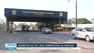 PRF registra aumento de 70% nas apreensões de drogas - Maior parte das apreensões vem de Guajará-Mirim, na fronteira com a Bolívia.