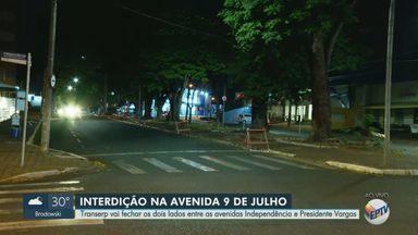 Transerp interdita trecho da Avenida Nove de Julho para obra de túnel em Ribeirão Preto - Bloqueio será feito a partir desta quinta-feira (1º) entre as avenidas Independência e Presidente Vargas. Veja rotas alternativas para motoristas.