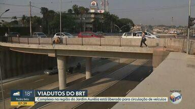 BRT: viaduto na região do Jardim Aurélia, em Campinas, é liberado para tráfego - Complexo está localizado em trecho de cerca de 1 km da Avenida John Boyd Dunlop que também voltou a ser utilizado pelos motoristas. Veja mudanças no trânsito e em linhas de ônibus.