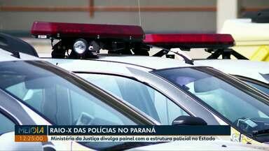 Ministério da Justiça divulga painel com a estrutura policial no Paraná - Meio-Dia Paraná questionou se a estrutura é suficiente para prevenir e combater crimes no estado.