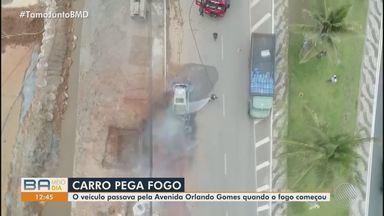 Susto: Carro pega fogo na Avenida Orlando Gomes, em Salvador - Apesar do perigo, o motorista não sofreu ferimentos.