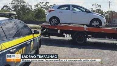 Homem rouba carro, fica sem gasolina e acaba preso ao ser ajudado por policiais - O motorista também transportava drogas, de acordo com a PRF.
