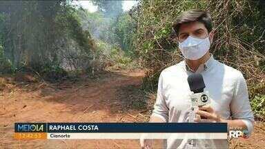 Brigadistas tentam apagar incêndio no Parque Cinturão Verde em Cianorte - O fogo começou do domingo.