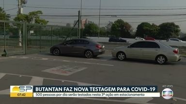 Instituto Butantan faz testagem para Covid-19 em estacionamento de shopping na Zona Norte - 500 pessoas por dia serão testadas por dia no estacionamento do shopping D.