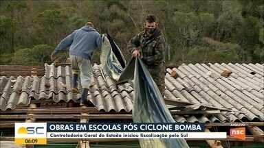 Governo de SC fiscaliza obras nas escolas atingidas por ciclone bomba - Governo de SC fiscaliza obras nas escolas atingidas por ciclone bomba