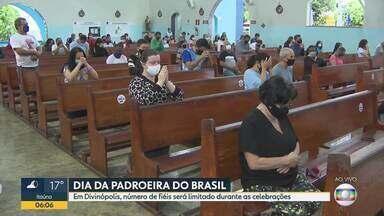Santuário de Nossa Senhora Aparecida, em Divinópolis, recebe fiéis no dia da padroeira - Santuário reduziu a capacidade de fieis por causa da pandemia.