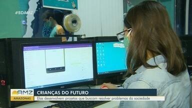 Em Manaus, grupo de crianças desenvolve projetos que buscam resolver problemas globais - Crianças entre 10 e 13 anos participam da iniciativa.