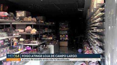 Fogo atinge loja no centro de Campo Largo - A causa do incêndio ainda não foi identificada