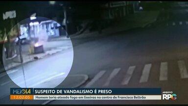Suspeito de colocar fogo em lixeiras é preso em Francisco Beltrão - Ele foi preso no fim de semana.