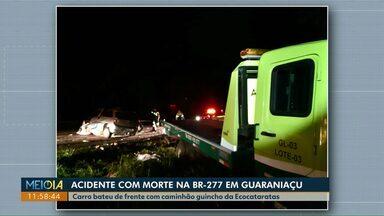 Motorista de carro morre após bater de frente com caminhão guincho na BR-277 em Guaraniaçu - Expectativa é de que o movimento nas rodovias paranaenses seja intenso na volta do feriado de Nossa Senhora Aparecida.
