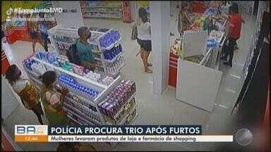 Câmeras de segurança flagram mulheres furtando produtos em farmácia de shopping da capital - Veja as imagens da ação das três criminosas, que estão sendo procuradas pela polícia.