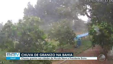 Mundo Novo e Presidente Dutra, na Bahia, têm chuva de granizo - Moradores das duas cidades baianas foram surpreendidos.