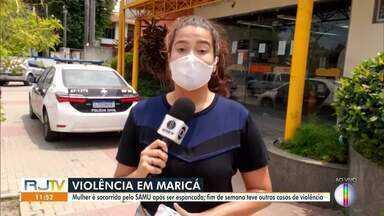 Mulher é socorrida por SAMU após ser espancada em Maricá, no RJ - Fim de semana teve outros casos de violência na cidade.