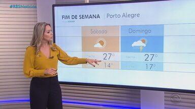 Final de semana começa com instabilidade na faixa oeste do RS - Também há chances de chuva e queda de granizo na região. Não deve chover no Litoral gaúcho, na Serra, na Região Sul e Região Metropolitana de Porto Alegre.