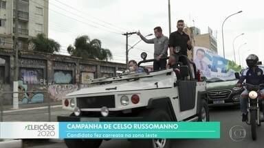 Celso Russomano (Republicanos) faz carreata na Zona Leste de São Paulo - O candidato a prefeito se encontrou com cabos eleitorais e apoiadores no Brás e, de lá, seguiu em carreata pela Zona Leste. Ele falou de propostas para a região se for eleito.