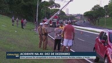 Uma pessoa foi atropelada e outras duas ficam feridas em acidente em Londrina - Batida foi na tarde deste sábado (17) na Av. Dez de Dezembro em Londrina.