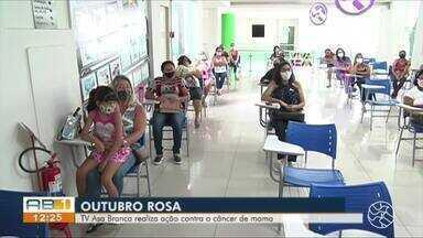 TV Asa branca realiza ação de prevenção ao câncer de mama - Campanha 'Outubro Rosa' alerta a população para a conscientização da doença.