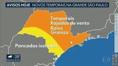 Pelo segundo dia seguido Grande São Paulo tem previsão de chuva forte - Temporais perdem força na quarta-feira. Veja como ficam as temperaturas nos próximos dias.