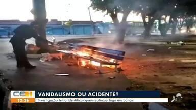 Investigação tenta identificar quem colocou fogo em banco de praça em Juazeiro do Norte - Saiba mais no g1.com.br/ce