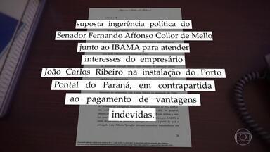 Collor é alvo de operação que apura possível propina para licença ambiental de porto no PR - O senador Fernando Collor de Mello é alvo de operação da Polícia Federal que apura possível propina para licença ambiental de porto no Paraná.