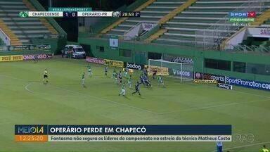 Na estreia de Matheus Costa, Operário perde para a Chapecoense fora de casa - Fantasma levou gol no segundo tempo e sofreu terceira derrota seguida na Série B.