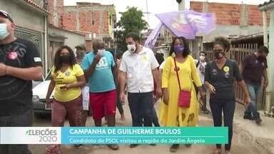 Guilherme Boulos fez campanha no Jardim Ângela, Zona Sul - Candidato disse que, se eleito, vai criar programa de distribuição de renda