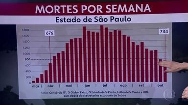 Semana em SP tem menor média de mortes dos últimos seis meses - Em uma semana, a média de mortes ficou em 734. É a menor média semanal desde abril.