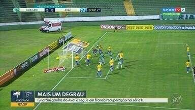 Guarani vence Avaí e segue em franca recuperação na Série B - Time venceu o adversário por 2 a 1, com gols de Todinho e Alan Henrique.