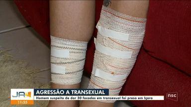 Suspeito de dar 30 facadas em transexual foi preso em Içara - Suspeito de dar 30 facadas em transexual foi preso em Içara